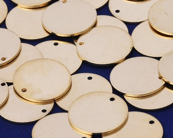 """Round Brass Stamping Blanks,Diy Personalized Stamping Blank with hole,Stamping Supplies,tibetara®,About 3/4""""(18mm)50 each/lot-10024600"""