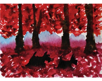 Scottie Dog  Art Print  Scottish Terrier 'Red Fall' #3