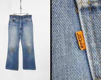 Vintage 70s Levi's Distressed Denim Jeans Orange Tab Faded Made in USA - 34 x 30