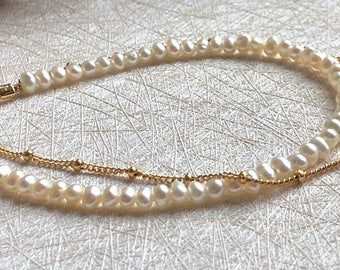 Pearl Beads Double Gold Bracelet,Party Jewelry,Bridesmaid Bracelet, Bridesmaid Gift,Delicate, Chic