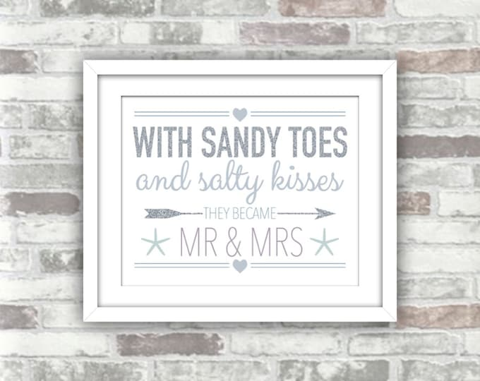 INSTANT DOWNLOAD - Beach Wedding Printable Digital Sign - Sandy Toes and Salty Kisses - 8x10 - Silver glitter blue purple grey gray decor