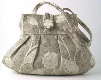 small tote bag- grey purse- womens handbag  -shoulder bag - retro purse- fabric bag- retro bag- grey tote bag- pleated bag
