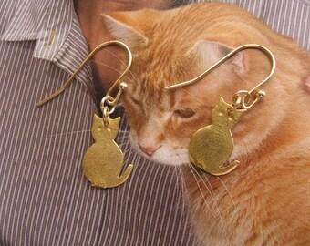 Cat Earrings Kitty 14K Gold Filled