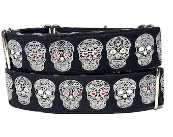 DAY OF the DEAD, Martingale, Dog Collar, black, Safety Collar, Greyhound Collar, Sighthound Collar, Adjustable, Training, lined collar