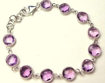 SALE, 30ct Natural Amethyst, Fancy Cut,Solid Sterling Silver Bracelet, Purple Amethyst Gemstone, Classic Bracelet, Vintage Amethyst Jewellry