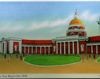 Vintage Linen New York Worlds Fair 1939 Section of the Court of States Unused