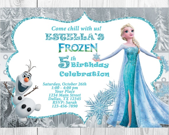 Frozen Birthday Invitation Elsaolaf Frozen Invitation
