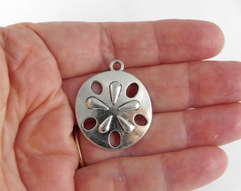 3 Sand Dollar Charms - 30mm x 25mm - Antiqued Silver