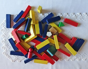 Vintage wood blocks - Wooden building block set - Colourful wood blocks - Vintage wood toys - Children's wooden blocks