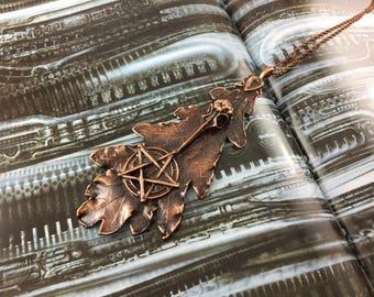 Oak Leaf Pentacle Bird Skull Pendant - Antique Copper - Cat No 899
