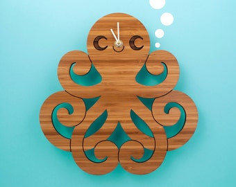 Bamboo Octopus Clock: Wood Kids Clock Ocean Nursery Baby