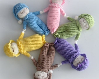 My Little Sleepy Baby - CROCHET PATTERN - doll | boy | girl | bed | sleep | tired | cute | infant | small