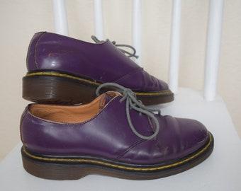 Vintage 90s Purple DR DOC MARTENS with Grey Laces Womens Size 7.5