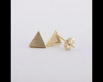 Earrings gold triangle minimalistic jewelry