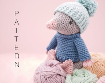 Amigurumi crochet cute mole doll pattern - Moochie the Mole PATTERN ONLY (English)