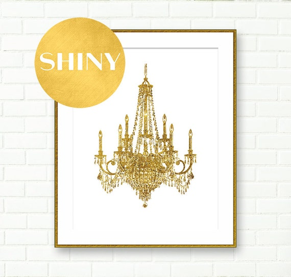 Chandelier Art Print Gold Wall Dining Room Decor