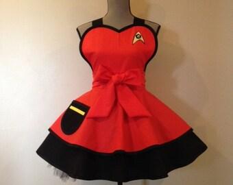 Star Trek Red - Star Trek Costume - Retro Apron - Star Trek Apron