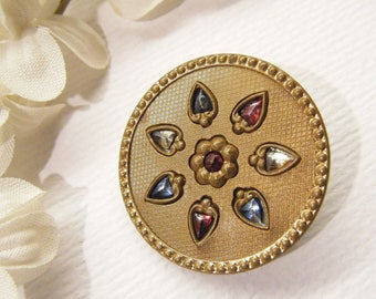 """Antique JEWELED Flower Metal Button, 1 3/16"""", ANIMAL CHARITY Donation"""