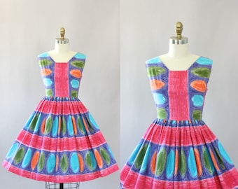 Vintage 50s Dress/ 1950s Cotton Dress/ Colorful Spotted Cotton Dress w/ Full Skirt S