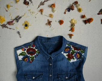 Vintage cotton/denim shirt/snap up shirt/western shirt/bold print/boyfriend shirt/ooak shirt/machine embroidery/made in canada/slow fashion