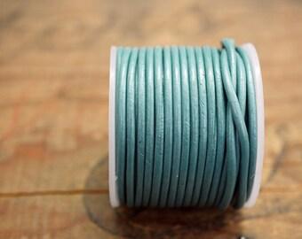 Leather Cord Metallic Turquoise 1.5mm 10 Yard Spool Metallic Turquoise Leather Cord