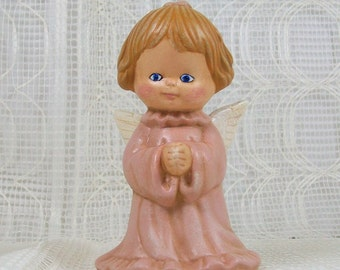 Handmade Ceramic Angel Figurine / Angel Statue / Cute Angel / Christian Home Decor / Angel Decor /  Child Angel / Pink Angel