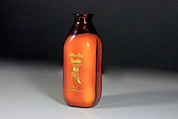 Brown Quart Milk Bottle, Blue Boy Dairy, Rochester NY, Amber Milk Bottle, Pyro Glazed (Painted Label),  Square, Collectible