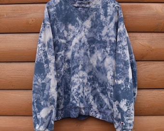 Champion Sweatshirt Blue Custom Bleached Acid Wash Pullover Crew Neck