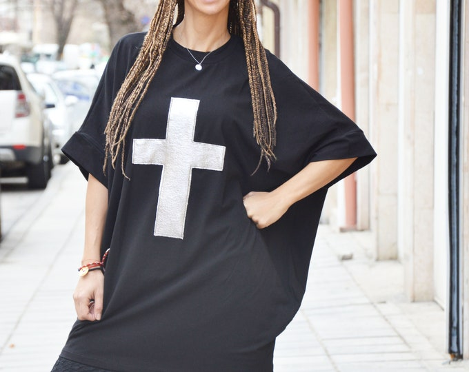 Black Short Sleeves Tunic with Cross, Extravagant Maxi Cotton Short Dress, Loose Blouse by SSDfashion