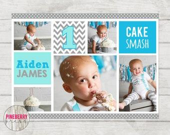 Plantilla de Smash, plantilla de Collage, pastel Smash Storyboard, plantilla de Storyboard, Blog Junta, cumpleaños Collage, smash azul gris pastel de torta