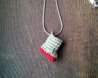 Try this Welly on for Size! Micro Crochet Rain Boot/Wellington Pendant, Hunter Green & Red