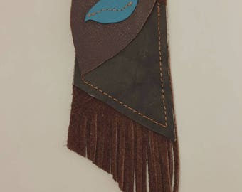 Brown and Teal Medicine Bag
