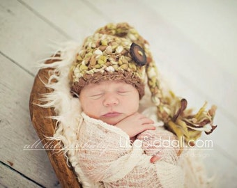 Crochet PATTERN for Baby Elf Hat, Long Tail Elf Hat Pattern, Pixie Elf,Pompom,Thick and Thin Wool Yarn,  Newborn Photo Prop,PATTERN ONLY
