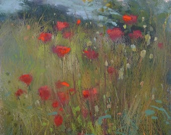 Original Pastel Painting Poppy Meadow  Landscape 9x12 by Karen Margulis psa