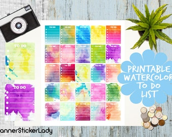 Assorted Watercolor TO DO List fits for Erin Condren Planners