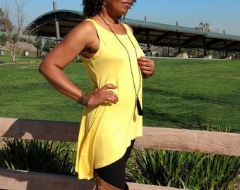 Yellow Asymmetrical Knit Tank, Sleeveless High Low Tunic, Scoop Neck Aline Tank Top, Sleeveless Knit Top ~ All Sizes / Colors
