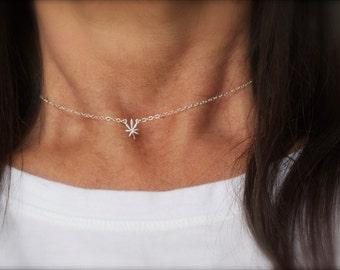 Tiny cannabis charm necklace - mini marijuana leaf necklace - 420 necklace - leaf necklace- weed necklace - gold-rose gold- silver -