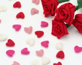 Felt Hearts -   2 cm Felt Hearts - 12 count - Wool Felt Valentine Hearts    Wool Felt Hearts     Tiny Hearts