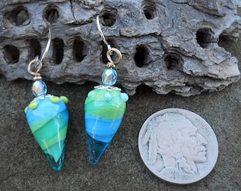 Aqua & green glass teardrop earrings, lampwork glass beads, elegant handmade art jewelry, sterling silver wire SRAJD art glass