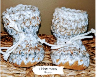 Cream Taupe Neutral Color Baby Booties Moccasin Construction Socks Baby Shower Work Sock Monkey Slippers Nursery