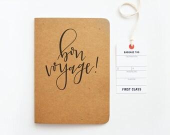 Kraft Travel Journal, Bon Voyage Calligraphy Travel Notebook   Hand Lettered Traveler's Journal