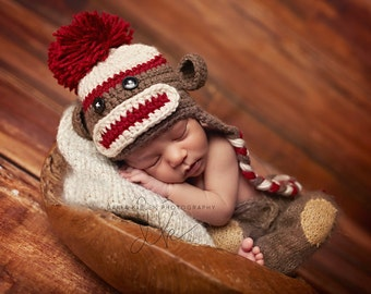 Newborn Crochet Brown and Red Sock Monkey Hat photo prop baby boy baby girl