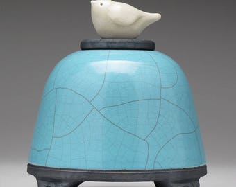 Ceramic Bird Jar,  turquois blue,Art pottery,raku jar, Small Pet urn, handmade