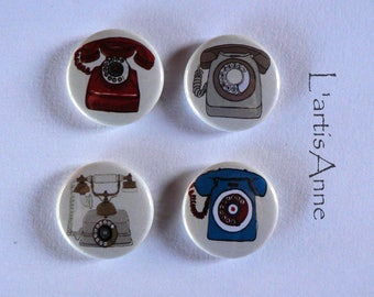 Magnets or Pinback button Vintage Telephone magnets.