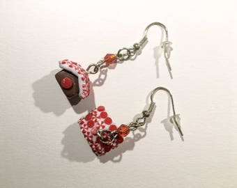Earrings dangle homemade gingerbread spice, red and white and Red Crystal beads