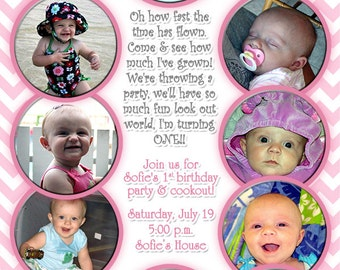 12 photo birthday invitation First Year First Birthday Year in Review invitation Print Your Own