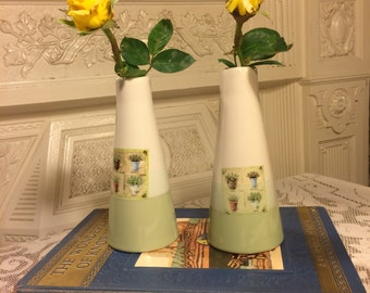 Two Green and Cream Garden Motif Bud Vases
