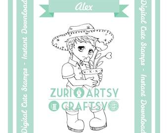 Alex, Digital Stamp, Cute Boy, Scrapbooking Digital Stamp, Instant Download, Zuri Artsy Craftsy