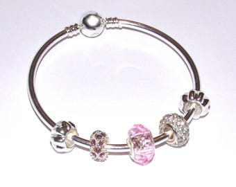 """Bangle Bracelet with charms, silver and pale pink """"Pandora style"""""""
