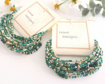 May Birthstone Long Seed Bead Stretch Bracelet, Necklace with Emerald Jade and Crystals